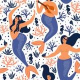 Teste padrão criançola sem emenda com sereias bonitos Textura na moda do vetor submarino Aperfeiçoe para a tela, a matéria têxtil Fotografia de Stock
