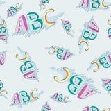 Teste padrão criançola sem emenda do alfabeto do vetor Ilustração Stock