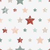Teste padrão criançola sem emenda do vetor com estrelas Estilo do Grunge Imagens de Stock Royalty Free