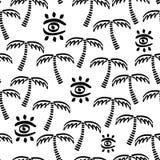 Teste padrão criançola sem emenda do vetor monocromático abstrato Matéria têxtil da tela com ilha exótica Teste padrão bonito do  ilustração stock