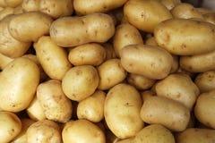 Teste padrão cru das batatas no mercado Fotos de Stock