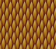 Teste padrão 3d sem emenda de cones pisados dourados Imagens de Stock