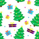 Teste padrão da árvore de Natal imagem de stock