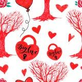 Teste padrão da árvore do marcador Valentine Seamless Hearts e de amor Fotos de Stock Royalty Free