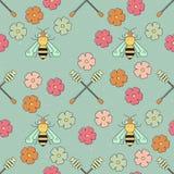 Teste padrão da abelha do mel Imagens de Stock Royalty Free