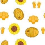Teste padrão da apicultura, estilo dos desenhos animados ilustração stock