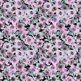 Teste padrão da aquarela com as flores abstratas cor-de-rosa ilustração stock