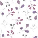 Teste padrão da aquarela com as folhas e ramos de prata, verdes, roxos, violetas em um fundo branco Ideal para cartões e convites ilustração do vetor