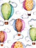Teste padrão da aquarela com balões e nuvens de ar em cores pasteis ilustração stock