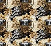 Teste padrão da aquarela com câmera e plantas carnudas do vintage foto de stock