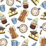 Teste padrão da aquarela com café e doces ilustração stock