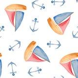 Teste padrão da aquarela com elementos vermelho-azuis do mar ilustração stock