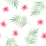 Teste padrão da aquarela com folhas e as flores tropicais ilustração stock