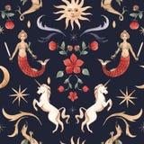 Teste padrão da aquarela com ilustrações medievais ilustração royalty free