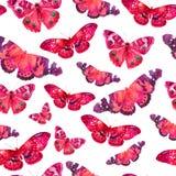 Teste padrão da aquarela com a imagem de borboletas transparentes em cores cor-de-rosa em um fundo branco Imagens de Stock