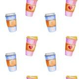 Teste padrão da aquarela com xícaras de café Fotos de Stock Royalty Free