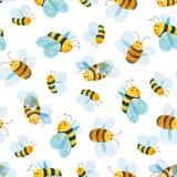 Teste padrão da aquarela da abelha de sorriso Imagens de Stock Royalty Free