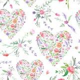 Teste padrão da aquarela de Provence com corações florais Foto de Stock