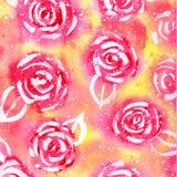 Teste padrão da aquarela de rosas coloridas Fotografia de Stock