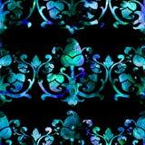 Teste padrão da aquarela do damasco Imagem de Stock Royalty Free