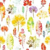 Teste padrão da aquarela do fundo sem emenda da textura das folhas Fotos de Stock
