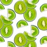 Teste padrão da aquarela do quivi Tampa exótica moderna com fruto verde A forma come a ilustração Fatias tropicais do quivi, natu Fotos de Stock