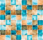 Teste padrão da aquarela dos quadrados Fotografia de Stock