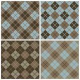 Teste padrão da Argyle-Manta nos azuis e nos marrons Fotos de Stock Royalty Free