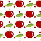 Teste padrão da baga da cereja com folhas do verde & círculos vermelhos Foto de Stock