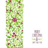 Teste padrão da baga do azevinho da aquarela do Feliz Natal Imagens de Stock