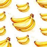 Teste padrão da banana do fruto do verão da aquarela Foto de Stock Royalty Free