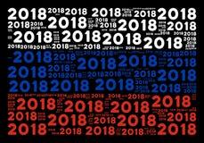 Teste padrão da bandeira do russo de artigos do texto de 2018 anos Ilustração do Vetor