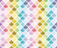 Teste padrão da cauda da sereia com elementos do brilho do ouro Fundo na moda da escala multicolored ilustração do vetor