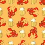 Teste padrão da cerveja e dos lagostins Fotos de Stock Royalty Free