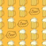 Teste padrão da cerveja Estilo dos desenhos animados Foto de Stock
