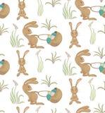 Teste padrão da cesta do ith dos coelhos Imagem de Stock Royalty Free