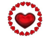 teste padrão da circular dos corações 3D Fotografia de Stock