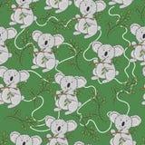 Teste padrão da coala Coala bonito com folhas em um fundo verde Fotos de Stock Royalty Free