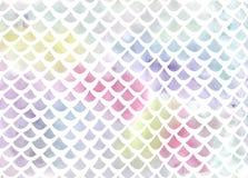 Teste padrão da escala de peixes da aquarela no azul e no rosa Fotos de Stock