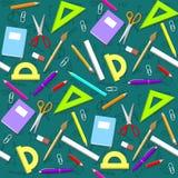 Teste padrão da escola Fundo com objetos Imagem de Stock Royalty Free