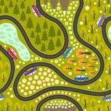 Teste padrão da estrada com carros Fotografia de Stock Royalty Free