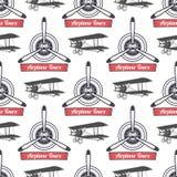 Teste padrão da excursão do avião do vintage Fundo sem emenda das hélices do biplano com fita, biplanos Papel de parede plano ret Fotos de Stock