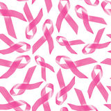Teste padrão da fita do rosa da conscientização do câncer da mama fotos de stock