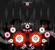 Teste padrão da flor vermelha e branco no backgrou escuro Imagens de Stock Royalty Free