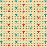 Teste padrão da forma do coração com fundo dos pontos - Vector a ilustração Imagens de Stock