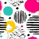 Teste padrão da garatuja com círculos de cor ilustração royalty free