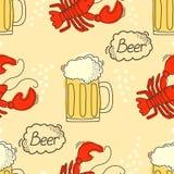 Teste padrão da garatuja com cerveja e lagostins Fotos de Stock Royalty Free