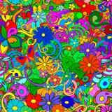 Teste padrão da garatuja com flores e redemoinhos Imagens de Stock
