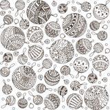 Teste padrão da garatuja das bolas do Feliz Natal da linha ícones ilustração stock