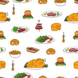 Teste padrão da garatuja do alimento e dos petiscos Fotografia de Stock